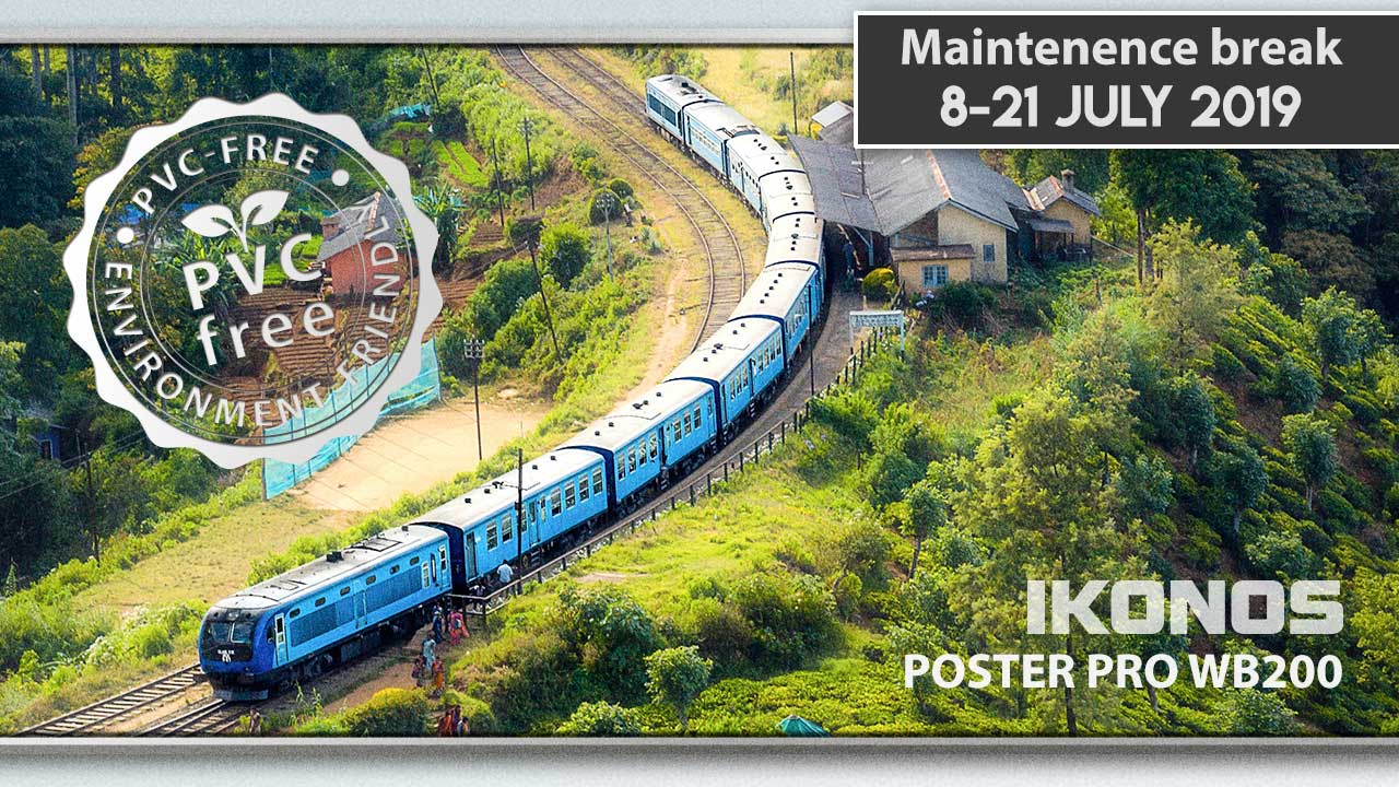Poster Pro news cover with train in the green mountain land