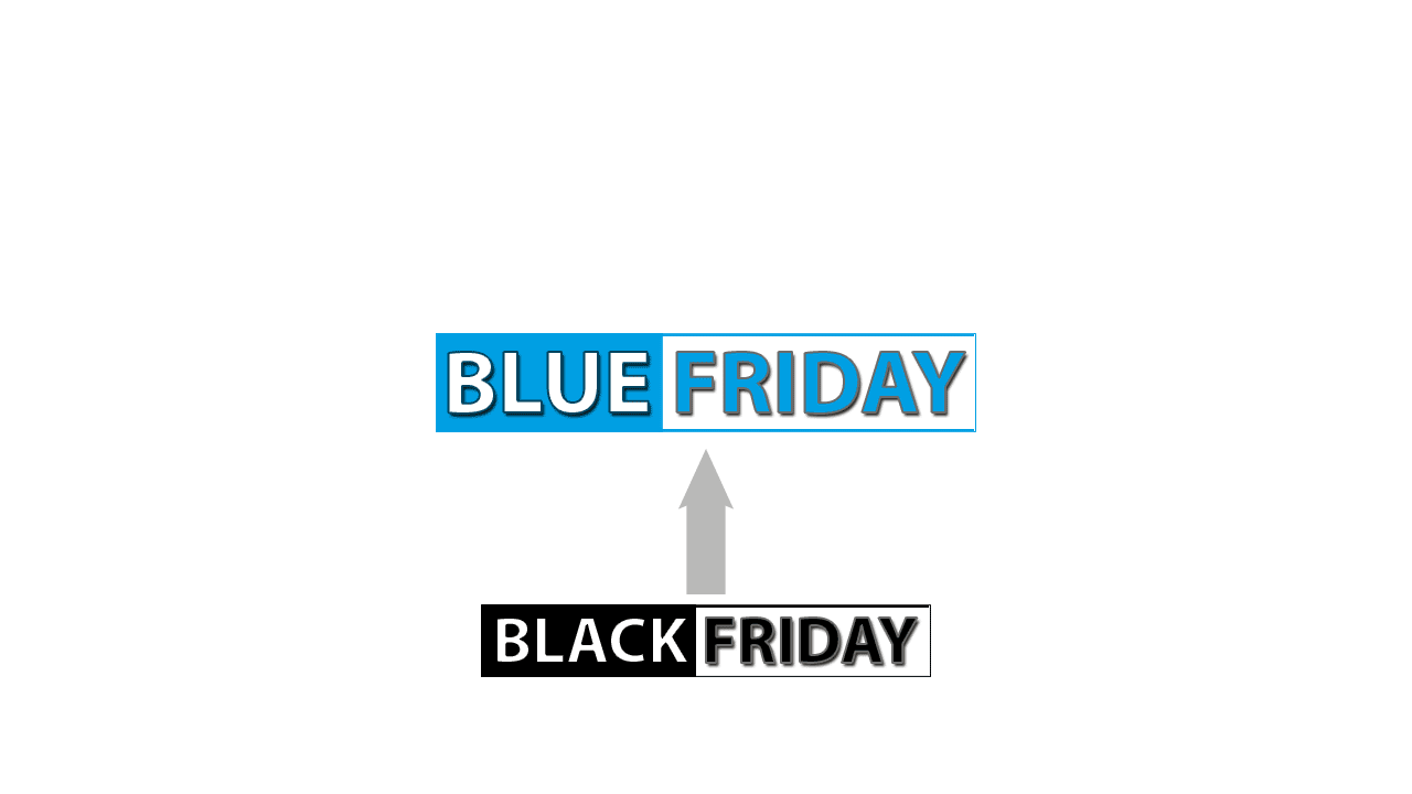 large format printing media bargain news cover - black becomes blue Friday