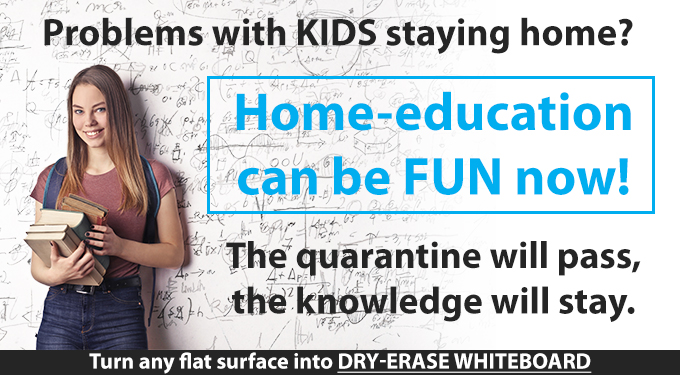 Home education with joy - turn any flat surfaces into a whiteboard with Ikonos lamination film for dry-erase markers