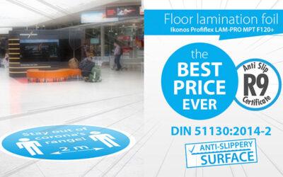 Safe floor lamination foil with R9 certificate