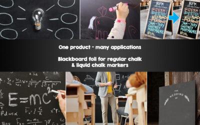 Applications of blackboard foil for chalk and liquid chalk marker
